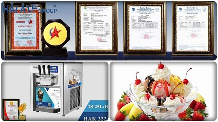giấy chứng nhận và máy làm kem tươi hải âu
