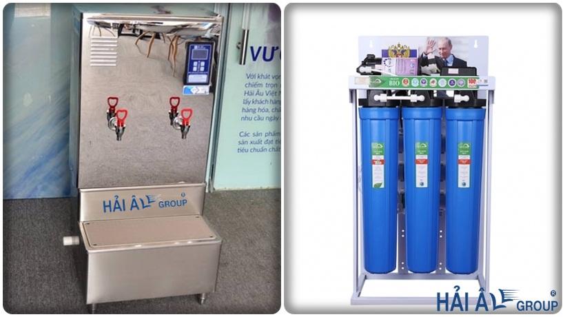 máy đun nước nóng Hải Âu và máy lọc nước bán công nghiệp RO